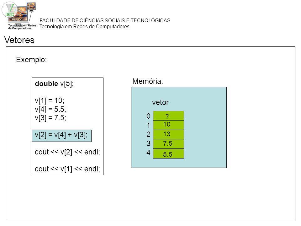 Vetores Exemplo: Memória: vetor 1 2 3 4 double v[5]; v[1] = 10;